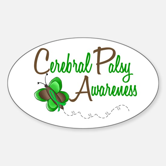 CP Awareness 1 Butterfly 2 Oval Decal