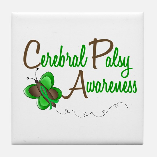CP Awareness 1 Butterfly 2 Tile Coaster