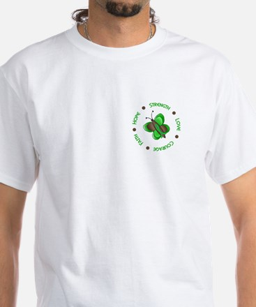 Hope Courage 1 Butterfly 2 GREEN White T-Shirt
