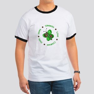 Hope Courage 1 Butterfly 2 GREEN Ringer T