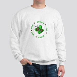 Hope Courage 1 Butterfly 2 GREEN Sweatshirt