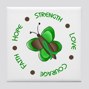 Hope Courage 1 Butterfly 2 GREEN Tile Coaster