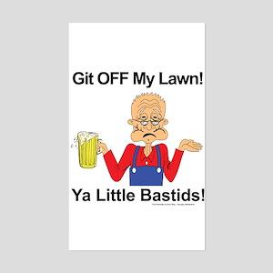 Git off my lawn! Rectangle Sticker