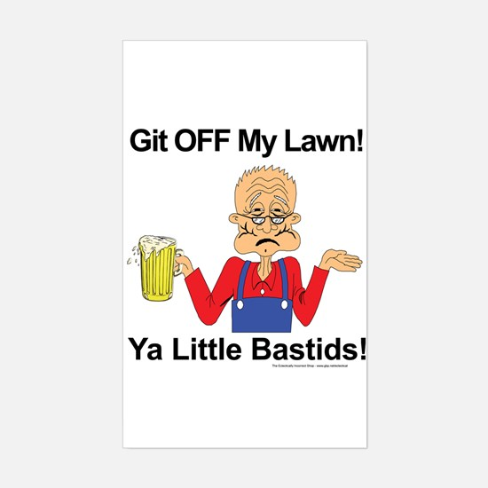 Git off my lawn! Rectangle Decal