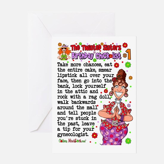 Twisted Sister Chicklist #1 Greeting Card
