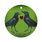 Two Crows (round) Round Ornament