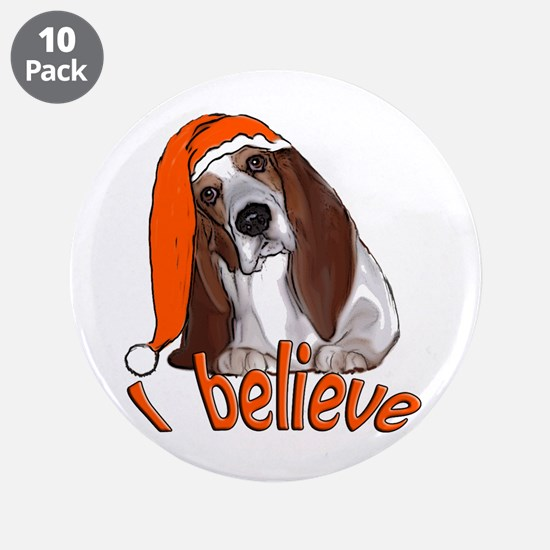 "basset hound Santa 3.5"" Button (10 pack)"