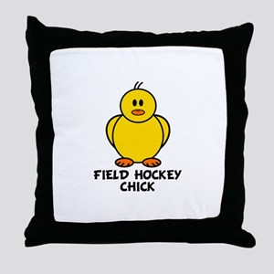 Field Hockey Chick Throw Pillow