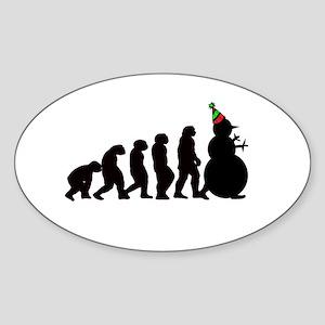 Evolution of Snowman Sticker (Oval)