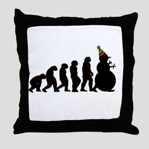 Evolution of Snowman Throw Pillow