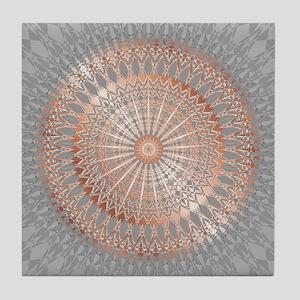 Rose Gold Gray Mandala Tile Coaster