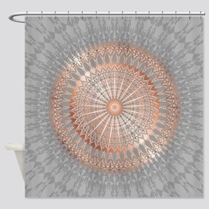 Rose Gold Gray Mandala Shower Curtain