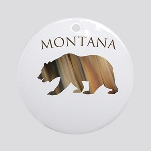 Montana- Stone Bear Round Ornament