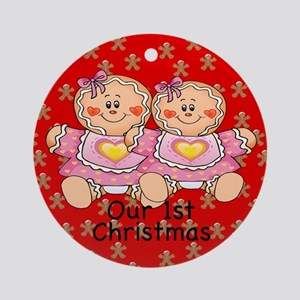 Twin Gingerbread Girls 1st Christmas Ornament