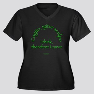 I Think, Therefore I Carve Women's Plus Size V-Nec