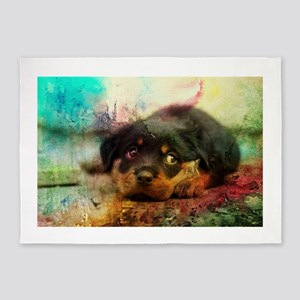 Rottweiler Puppy Watercolor Art 5'x7'Area Rug