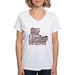 Zebra Cheerleader Women's V-Neck T-Shirt
