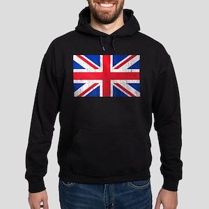 Union Jack Flag Distressed Look Hoodie (dark)
