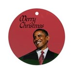 Christmas, Obama and cats Ornament (Round)