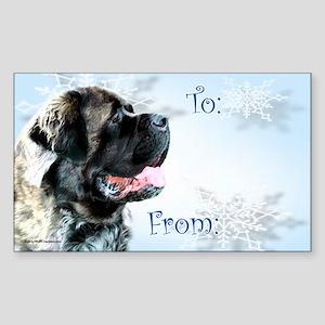 Fluffy Mastiff Gift Rectangle Sticker 10 pk)