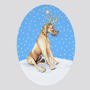 Great Dane Deer Fawn UC Oval Ornament
