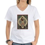 Ornate Vintage Pinup Cowgirl Women's V-Neck T-Shir