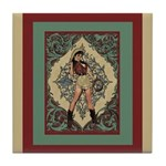 Ornate Vintage Pinup Cowgirl Tile Coaster