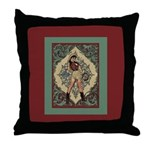 Ornate Vintage Pinup Cowgirl Throw Pillow