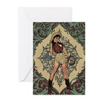 Ornate Vintage Pinup Cowgirl Greeting Cards (Pk of
