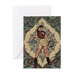 Ornate Vintage Pinup Cowgirl Greeting Card