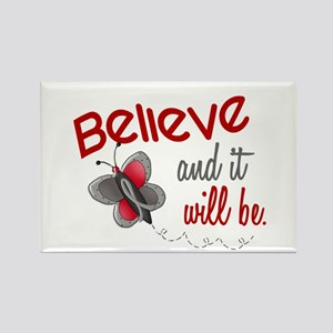 Believe 1 Butterfly 2 GREY Rectangle Magnet