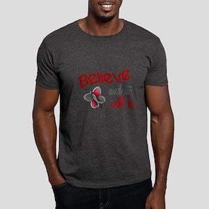 Believe 1 Butterfly 2 GREY Dark T-Shirt
