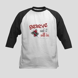 Believe 1 Butterfly 2 GREY Kids Baseball Jersey