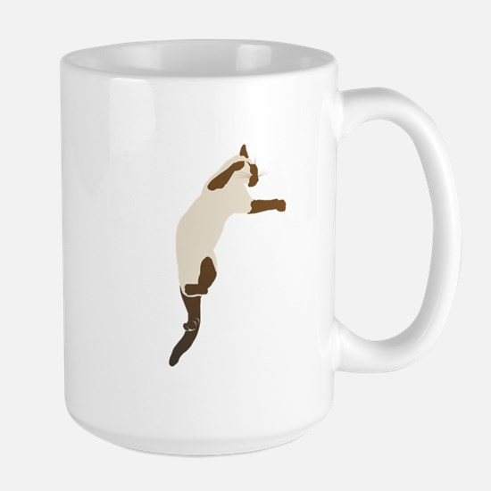 Leaping Siamese Cat Large Mug