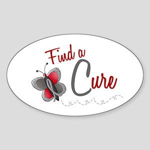 Find A Cure 1 Butterfly 2 GREY Oval Sticker