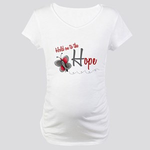 Hold On To Hope 1 Butterfly 2 GREY Maternity T-Shi