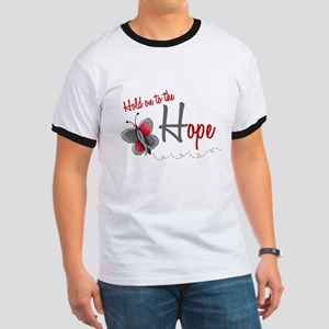Hold On To Hope 1 Butterfly 2 GREY Ringer T