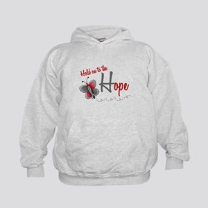 Hold On To Hope 1 Butterfly 2 GREY Kids Hoodie