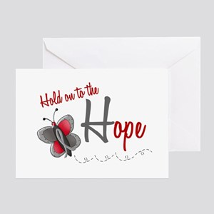 Hold On To Hope 1 Butterfly 2 GREY Greeting Card