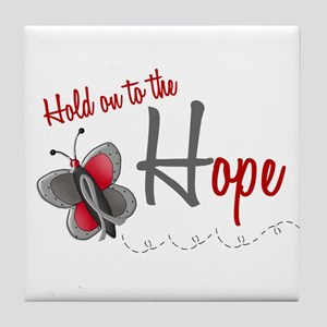 Hold On To Hope 1 Butterfly 2 GREY Tile Coaster