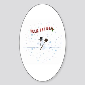 Feliz Navidad Christmas Oval Sticker