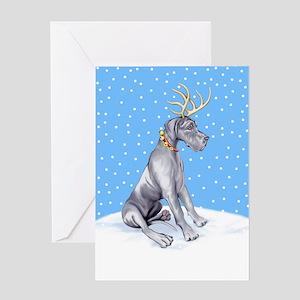 Great Dane Deer Blue UC Greeting Card