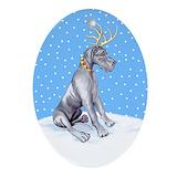 Great dane dog coats Oval Ornaments