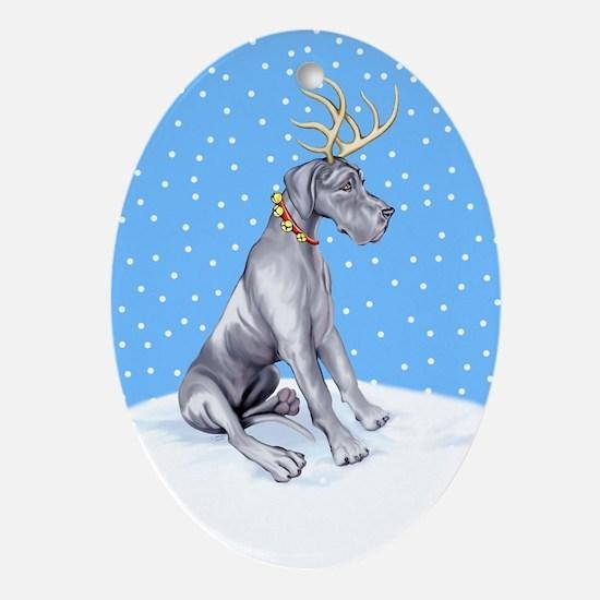 Great Dane Deer Blue UC Oval Ornament