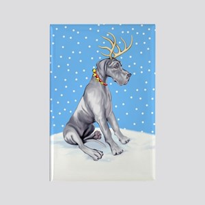Great Dane Deer Blue UC Rectangle Magnet