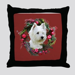 Warm Westie Wishes Throw Pillow