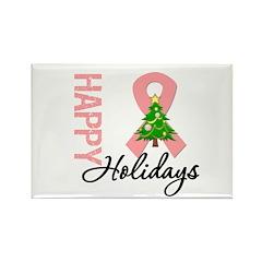 Peach Ribbon Christmas Rectangle Magnet (10 pack)