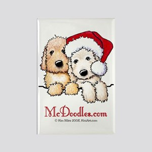 Holiday Pocket Doodle Duo Rectangle Magnet