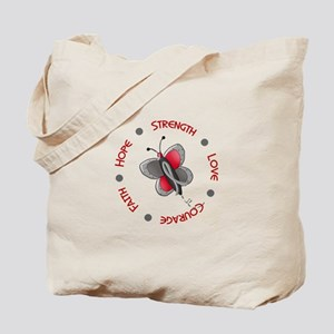 Hope Courage 1 Butterfly 2 GREY Tote Bag