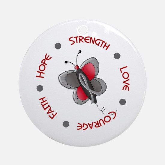 Hope Courage 1 Butterfly 2 GREY Ornament (Round)